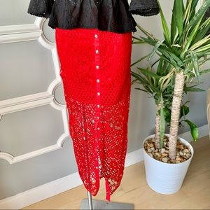 The Sang Floral Lace Crochet Maxi Skirt Size Large